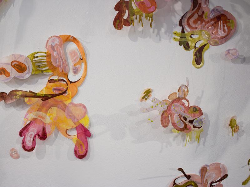 Strange Specimen (detail), Acrylic on Mylar, Hallway Install, 2016